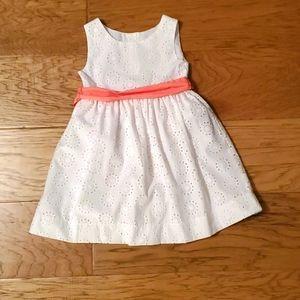 White Eyelet Dress Salmon Bow Summer Wedding